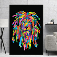 1 Panel Colorful Animals Canvas Painting Lions Wall Art Quad...
