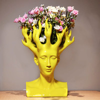Creative Human Head Flower Vase Movie Figure Home Decor Art ...