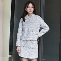 2020 New Womens Slim Fit Tweed Outfits Streetwear Elegant Lo...