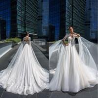 Современные 2019 Свадебные платья с длинным рукавом и кружевными аппликациями Тюль Свадебные платья на заказ Свадебное платье больших размеров