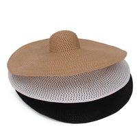 25 cm de ancho del borde de los sombreros de la playa de gran tamaño para las mujeres sombrero de paja grande Protección UV ahueca hacia fuera el verano Sun sombrero de Derby