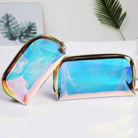 2020 Laser Moda Cosmetic Bag Mulheres Maquiagem TPU Transparente Beleza Organizador Pouch Feminino Jelly Bag Lady Marca Up Pouch
