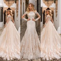 New Arrival Champagne Mermaid Wedding Dresses Long Sleeves O...