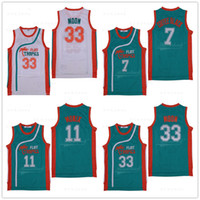 Hombres # 69 Downtown # 7 Coffee Black Jersey # 33 Jackie Moon # 11 ED Monix Hombres Semi Pro Movie Flint Tropics Camisetas de baloncesto cosidas