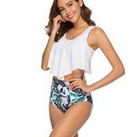 Tamaño de baño mujeres del bikini retro atractivo volante del bikini Conjunto floral S-3XL Plus Imprimir Tankini empuja hacia arriba el traje de baño traje de baño Mujer