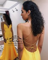 Sexy Backless Yellow Mermaid Prom Dresses 2K19 Plus Size Che...