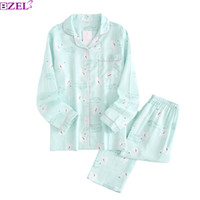 Summer And Spring New Pyjama Set Leaves Printed Female 100%G...