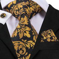Hızlı Kargo Kravat Lüks Siyah Sarı Hanky Kol Düğmeleri Erkekler Için Erkekler Ipek Kravatlar Düğün Dating Businessparty Damat N-3058