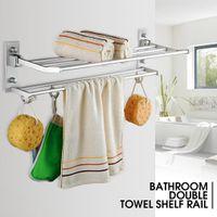Xueqin Alumimum plegable Titular de baño toalla de almacenamiento en rack Percha Cocina Hotel Toalla ropa estante con 5 ganchos