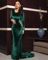Verde Dubai Hunter Mermaid Vestidos Pescoço V manga comprida Trem da varredura Sequins Beads Velvet formal do partido Prom Vestidos túnicas de soirée