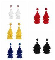 Renkli Katmanlı Püskül Küpe Bohemian Dangle Bırak Küpe Kadınlar Kız Katmanlı Püskül Druzy saplama Küpe kadınlar Hediyeler için