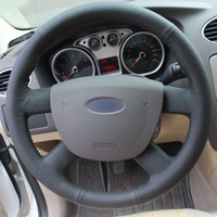 Mão DIY costura preto couro genuíno cobertura de volante de carro para Ford Focus 2 2005-2011