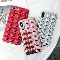 3D حالة حب القلب لينة لفون XS MAX XR7 زائد 8 أزياء النساء فتاة لطيف صدمة والدليل TPU طلاء السيليكون