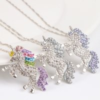 2019 Fashion Unicorn With Rhinestone Necklace Colorful Ename...