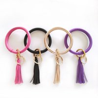 Creative New PU Leather Circle Bracelet KeyChains Circle Cut...