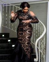 2020 Arabe Aso Ebi Black Lace Soirée luxe robes sirène cristaux de perles Robes de bal vintage de partie formelle Deuxième de Robes de réception