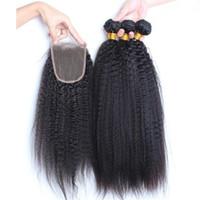 Italiano Grueso Yaki brasileño Virgin Human Hair 3Pcs paquetes con cierre 4Pcs / Lot Kinky Straight Virgin Virgin Weaves con cierre de encaje 4x4