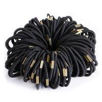 100 Teile / satz Schwarz Elastische Haarbänder für Mädchen Mode Frauen Scrunchie Gum für Haarschmuck Elastische Haarbänder