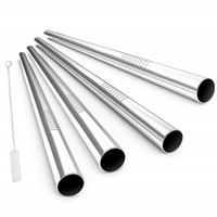 المعادن واسعة الفولاذ المقاوم للصدأ الصلب 8.5in / 9.5in / 10.5in القش قابلة لإعادة الاستخدام شرب القش بوبا