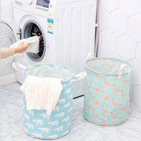 Speicher-Korb-Aufbewahrungstasche faltbare Wäscherei 9 Styles Flamingo Bär Printed Kleidung Startseite Sundries Lagerung Barrel Kinder Spielzeug Organizer YSY195-L
