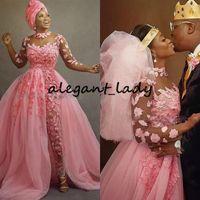 Hot Pink Nigerian African African Wedding Tuta con treno staccabile 2020 Plus Size Sheer Gioiello Gestolo Collo 3D Floral Lace Tulle Bride Dress Suit Abito