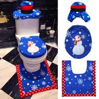 Noël de siège de toilette Maison décoration Ameublement Ensemble Décorations de Noël coussin de siège de toilette Pardessus toilettes cas LXL500-A