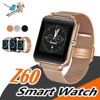 Heißer Verkauf Bluetooth Smart-Uhr-Telefon Z60 Edelstahl Unterstützung SIM-TF-Karte Kamera Fitness Tracker GT08 GT09 DZ09 A1 V8 Smartwatch