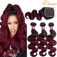 Gagaqueen hair Ombre Wave Body brasileño con cierre 1b / 99j Paquetes de cabello humano brasileño Ombre de dos tonos con cierre de encaje