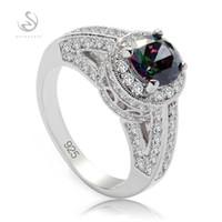 Shunxunze Shinning 925スターリングシルバーの婚約の結婚指輪ジュエリーキャリア貴族の女性レインボーキュービックジルコニアS-3798サイズ6 7 8 9