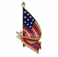 Amerikan bayrağı yağ damlası elmas broş Çin bayrağı dostluk hatıra bayrağı rozeti alaşım broş WY1286