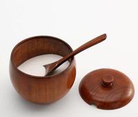 1PC especias tarro condimento Can Sugar Bowl con tapa cuchara de madera especias Box herramienta de la cocina de almacenamiento de sal de cocina Caja Azúcar Pot