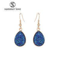 Neue Ankunft Rosa Grün Weiß Blau Harz Druzy Stein Baumeln Ohrring für Frauen Mädchen Gold Haken Ohrring Modeschmuck Geschenk