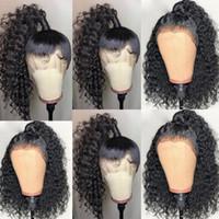 사전 뽑아 전체 레이스 인간의 머리 가발 아기 머리 밥 딥 부분 13X6 레이스 프런트 곱슬 가발 브라질 버진 머리카락을위한 블랙 여성