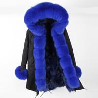 Beauitful Maomaokong marka Kadınlar kar mont Kraliyet mavi tilki kürk çizgili siyah uzun parka tilki kürk trim ile hoody Eşik
