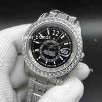 Cheio de diamantes SKY Assista 40MM Luxo caso Iced Out Relógio Automático Men prata inoxidável cara preta Waterproof inoxidável Set Diamante
