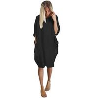 بالاضافة الى حجم بوهو اللباس السيدات فستان عارضة الجيب فضفاض جولة الرقبة البسيطة بلايز النسائية فساتين الصيف شحن مجاني