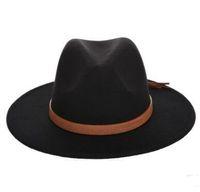 7 ألوان الخريف شمس الشتاء قبعة النساء الرجال قبعة فيدورا الكلاسيكية واسعة بريم شعر مرن قاء زجاجي كاب الفاتحة تقليد الصوف كاب