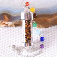 Colgante, collar de ojos 7 Chakra botella Deseando péndulo Reiki Natural impacto de piedras de tigre para hombres, mujeres adivinación amuleto K615