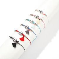 lega argento conchiglie colorate nappe braccialetti di fascino per le donne bohemien stile vacanza shell braccialetto corda catena gioielli 6 colori bianco rosso