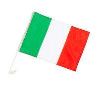 Hohe Qualität Italien Auto Flagge 18 '' x 12 '' 30 * 45 cm mit Kunststoffstab für Teamsportwerkzeuge, freies Verschiffen