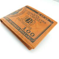 Dessin de mode ! Unisexe Monnaie Argent Imprimer Portefeuille Dollar US Livre Yen Bill Motif Bourse Bifold Titulaire de la carte de crédit Femmes Homme
