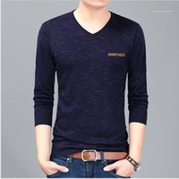 Middle Aged Male Clothing Long Sleeve V Neck Tees Mens 2020 Luxury Designer T Shirts Loose Plus Size