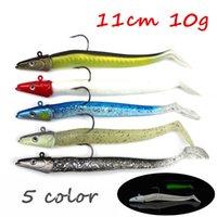 5 adet / lot 3D Gözler Mastar Kafa + PVC Balıkçılık Lure Yumuşak Yemler Yemler 5 Renkler Karışık 11cm 10g Tek Balıkçılık Kancalar BL_38 Kurşun