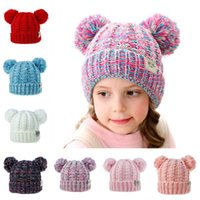 Unisex Kinder Hüte Winter Knit Kleinkind-Mädchen Beanie Baby Soft Warm Pom Pom Cap Outdoor Sports Hut Warm Kinder Strickmütze Beanie M221Y