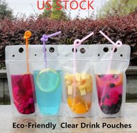 US stock Clear Drink Pouches Bags Zipper Stand- up Plastic Dr...
