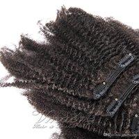 Brasiliano Vmae 8 a 20 pollici clip 100g 120g 140g 160g naturale di colore Afro crespo riccio 4C Virgin capelli umani di Remy in