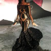 Chic sirena africana vestidos de baile brillante musulmanes manga larga vestidos de noche de lentejuelas Apliques 3D floral largo vestido de fiesta de la ocasión especial 2020