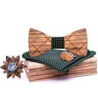 خمر الخشب القوس التعادل الرجال جيب مربع منديل أزرار أكمام التلبيب زهرة بروش مع مربع مجموعة