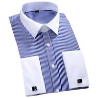 2019 novo design colarinho branco listrado abotoaduras francesas homens camisas de manga longa manga festa de manguito homens vestido camisas mais tamanho 4xl 46