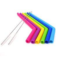 Paglia silicone alimentare per 20oz 30oz Cannuccia colorata silicone per bere con la spazzola Tubo riciclabile in silicone